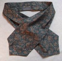 Ascot Cravat Tootal Vintage Mens 1980s 1990s MOD GREEN BROWN PAISLEY