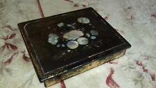 STUNNING ANTIQUE JENNENS & BETTRIDGE PAPIER MACHE EARLY 1800's WRITING BOX +KEY