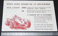 BUVARD 1960 CHOCOLAT EN POUDRE BARRY VOITURE DE COURSE