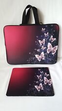 Black & Pink Butterfly Laptop or Tablet Case W/ Mouse Pad