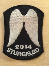 "2014 Sturgis Rally 3 1/2"" x 2 1/2"" Iron On Biker Jacket Vest Angel Wings Patch"