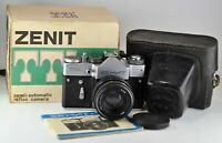 """1977 FIRST ISSUE!  RARE USSR """"ZENIT-TTL"""" camera + HELIOS-44M lens, BOXED SET"""
