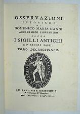 SIGILLI - figur. 1744 - MEDIOEVO - storia - araldica - MANNI - tomo 15