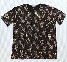 Ladies floral glitter top Charmell BNWT New medium size M made in UK black brown