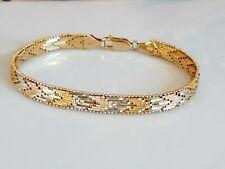 Phantastisches Armband Silber 925, tricolor vergoldet, massiv und geschmeidig