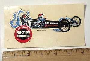 Vintage Big Daddy Don Garlits Water Slide Decal NHRA Wynn's Friction Proofing