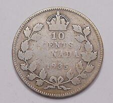 1935 Ten Cents VG SCARCE Affordable LOW Mintage George V KEY Canada SILVER Dime