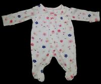 Carter's Preemie girl White with Flowers Footed sleep N Play outfit.
