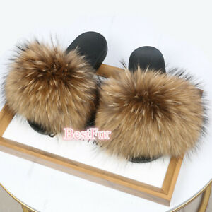 Max Large XXL Real Natural Brown Raccoon Fur Slides Womens Beach Slippers Shoes