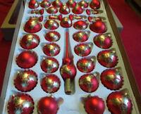40. Set Weihnachtskugeln Rot mit Gold Lauscha 39 Kugeln + Aufhänger, Handbemalt