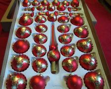 40er Set Weihnachtskugeln Rot mit Gold Lauscha 39 Kugeln + Aufhänger, Handbemalt