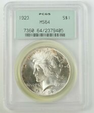 1923 PCGS MS64 SILVER PEACE DOLLAR OLD GREEN RATTLER HOLDER