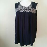 Adrianna Papell Blue White Embroidered Top Size 1X Nwt $69 Sleeveless Blouse