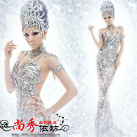 Women's Silver Sequins Pageant Dress Sexy Mermaid Bar Party Cosplay Costume