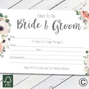 Advice To The Bride and Groom Cards Wedding Guest Book Wisdom Wishes Favour Boho