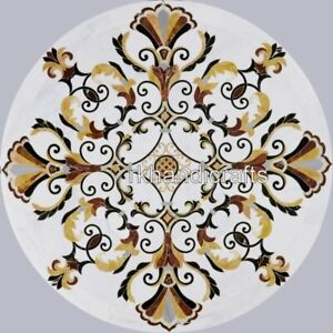 24 Inch Marble Patio Coffee Table Round Stone Sofa Table Top with Marquetry Art