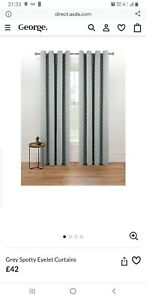 George Home Lined Eyelet Curtains - Grey and White spots 90 x 90