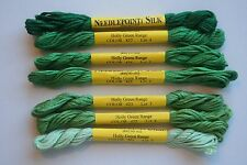 Needlepoint Inc Silk Floss 5 Meters 8 Ply 100% Silk Lot of 7 Holly Green
