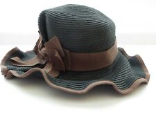 Fedora Sun Hat Charcoal Grey w/ Brown Bow Ruffled Brim Christys Crown Collection
