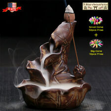 Ceramic Backflow Incense Cone Burner Holder Lotus Waterfall&10/60Cones Gift