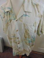 Tommy Bahama Mens XL Floral Beach Camp Hawaiian Beige 100% Silk Shirt