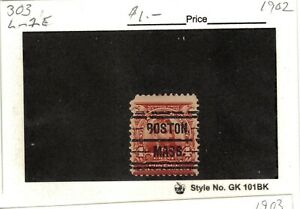 JimbosStamps, U.S .precancels 1902 issue, 4 cent Grant, BOSTON MASS