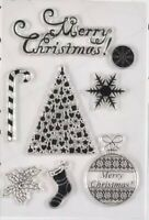 Brand New Merry Christmas Tree Snowflake Candy Cane Holly Clear Silicone Stamp