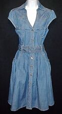 APPLE BOTTOMS sexy open back denim chambray dress bling studs hourglass retro M