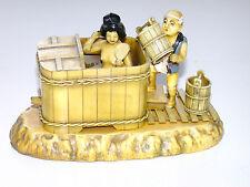 Stunning Vintage 1930's Hand Made Japanese Geisha Bath Tub Scene Figurine