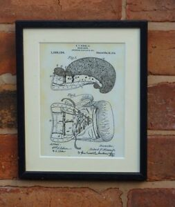 """USA Patent drawing Vintage BOXING GLOVES sport Mounted PRINT 10"""" x 8"""" 1914 Gift"""