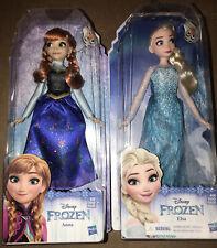 "Hasbro Disney Frozen Classic Princess Elsa and Anna Doll Lot - 11"" NEW"