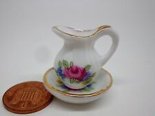 1:12 Scale  Jug & Wash Bowl Dolls House Miniature Pink Rose