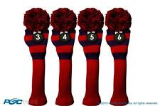 Hybrid classic golf club headcover New 4 pc BLUE RED 3 4 5 6 KNIT Head cover