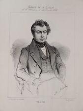 Portrait CHARLES VARIN ECRIVAIN THEATRE NANCY VAUDEVILLE HOMME ROMANTISME 1840