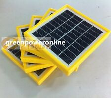 1PC 2W 9V Tempered Glass+Yellow Frame Solar Module Panel System Charger DIYB042