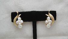 SCROLLED LEAF 14K Solid Gold Clip On Earrings 12 3- 6mm Graduated Pearls 137-U