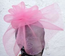 baby pink fascinator millinery burlesque wedding hat ascot race bridal party