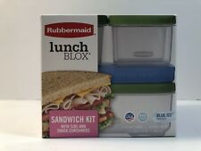 NEW Rubbermaid Lunch Blox Sandwich Kit With Side Snack Containers (4 containers)