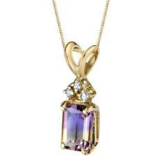 Oravo 14 Kt Yellow Gold Emerald Cut 1.00 cts Ametrine Diamond Pendant