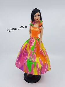 New Barbie doll clothes outfit bright casual cute rainbow colorful neon dress