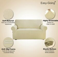 Easy-Going Stretch Oversized Sofa Slipcover In Ivory  Sofa Cover Couch Protector