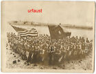 US WWI Marine Corps in France with Flag Photo