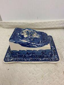 Blue & White Cheese Dish Masons Vista Pattern