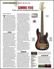 Fender American Standard Precision 5-string Bass V review article with specs