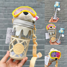 New 2021 China Starbucks Thermos Ice-cream Cone Bear Bag 18oz Sport Water Bottle