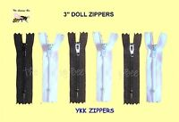 "6 Nylon YKK DOLL zippers 3"" inch for Sewing & Repair Doll Clothes BLACK & WHITE"