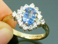 9ct Gold Ceylon Sapphire & 0.30ct Diamond Cluster Ring size M