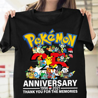Pokemon 25th Anniversary Pikachu Species Gamer T-Shirt Funny Cotton Tee Gift Men