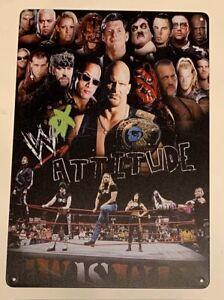 Attitude Era Metal Poster Rock Stone Cold Undertaker Retro Mattel Hasbro Figures