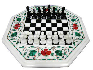 """36"""" White Marble Dining Chess Table With Stand Malachite Floral Inlay Decor W217"""